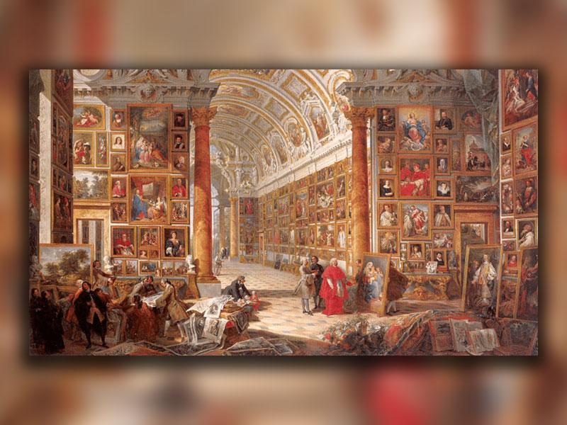 فضای داخلی یک گالری نقاشی